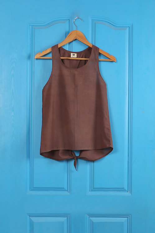 Cotton Single Knot Top in Natural Brown