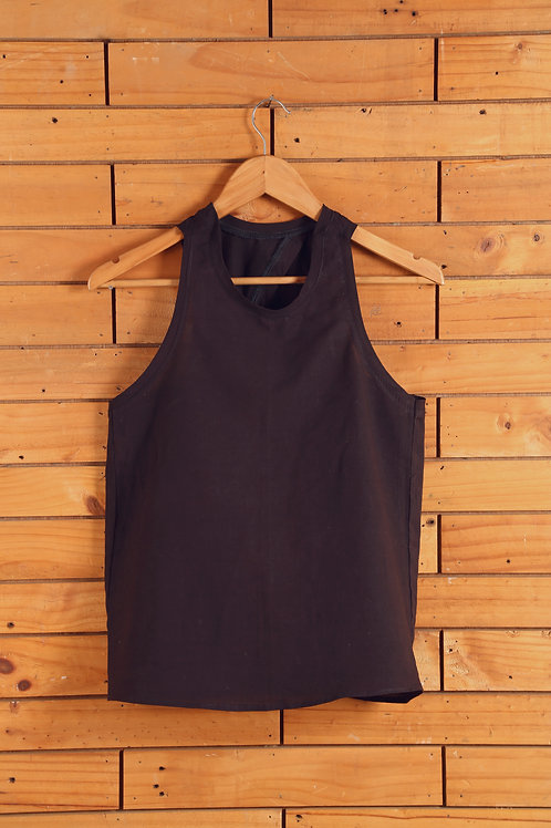 Cotton Single Knot Top in Natural Black