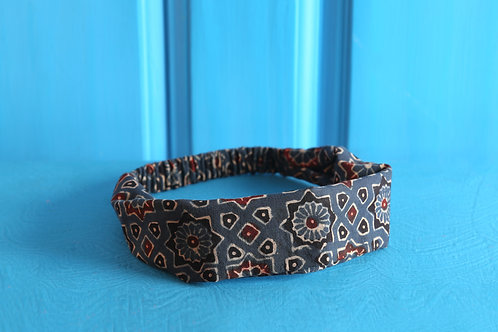 Cotton Head Band In Handblock Indigo Lotus Print