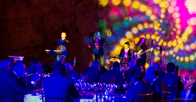Shangrila Event Sound and Lights management Live Band Pulse and Soul Thanae Omani Greek singer vocalist Oman live full band bass guitar drums saxophone clarinet latin vocals
