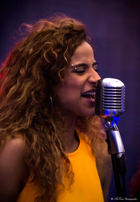 Thanae Oman Singer Greek Artist Album Launch Between 2 doors singer song writer composer Shure Mic