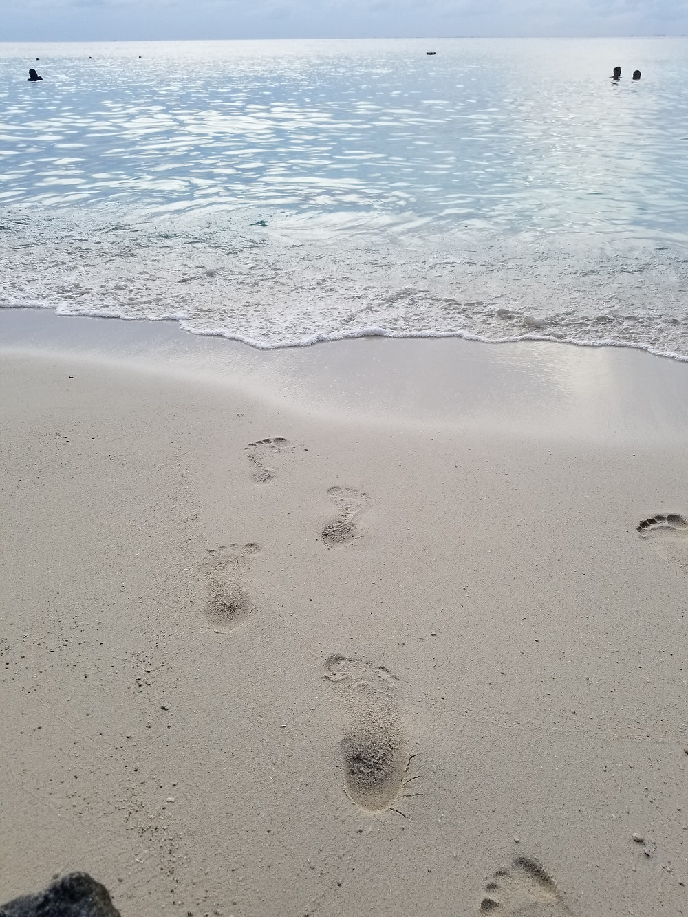 Footprints in the sand leading to clear torquoise water near sunset in Cozumel