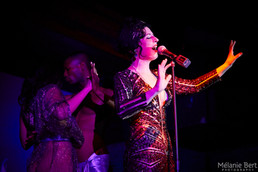 Brooklyn Britches singing with Bowmanville for Le Nu at Untitled *photo by Mélanie Bert *gown by Gibeon Tolbert
