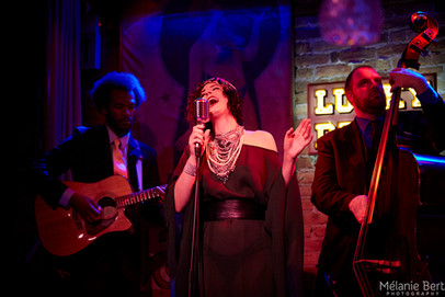 Brooklyn Britches and The Whispers at The Drifter *photo by Mélanie Bert *gown by Gibeon Tolbert