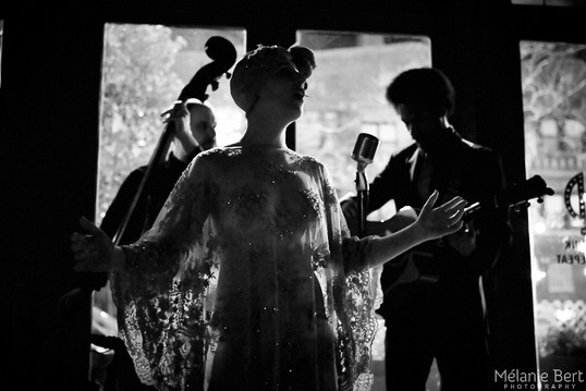 Brooklyn Britches and The Whispers at SIP After Dark *photo by Mélanie Bert *gown by Gibeon Tolbert