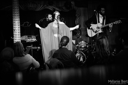 Brooklyn Britches and The Whispers at The Green Mill for The Uptown Poetry Slam *photo by Mélanie Bert *gown by Gibeon Tolbert