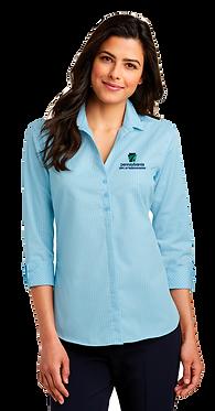 Ladies 3/4 Sleeve Micro Tattersall Easy Care Shirt