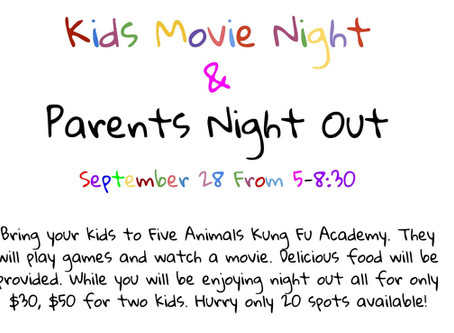 Kids Movie Night/Parents Night Out - Sept. 28