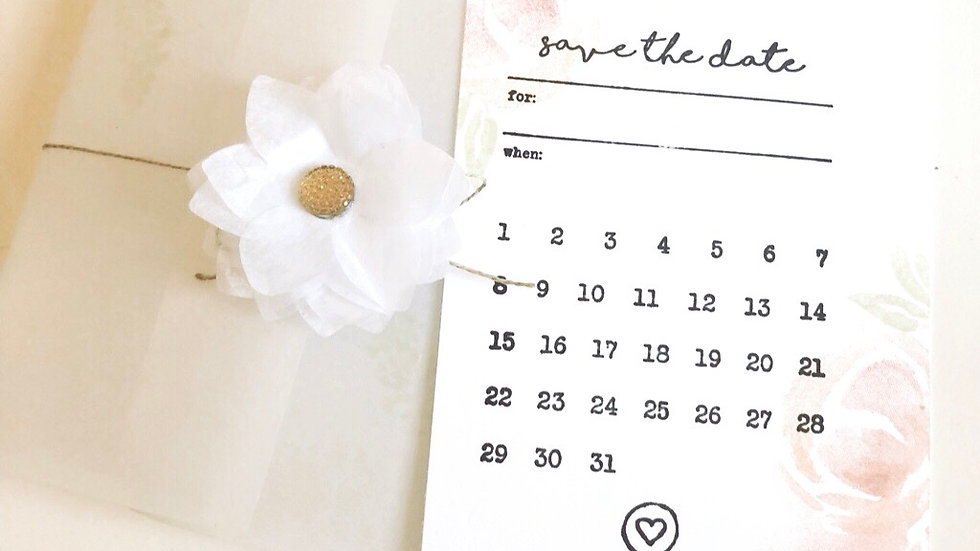 Save the Date Card with Vellum Sleeve. Floral Design
