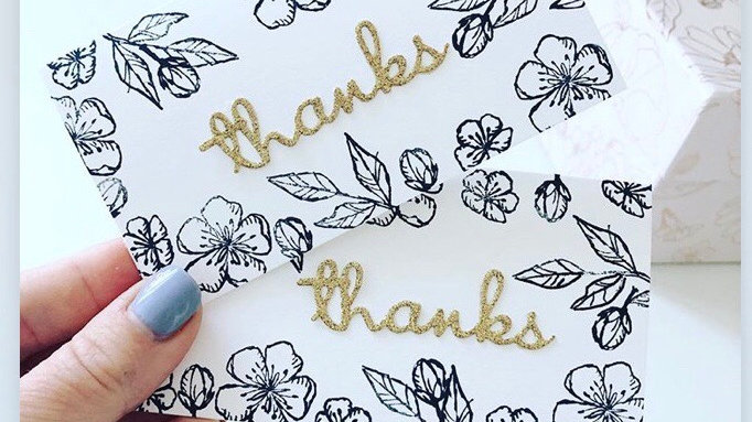 Handstamped floral thank you cards (Pack of 10)