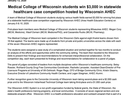 Milwaukee team wins statewide competition!