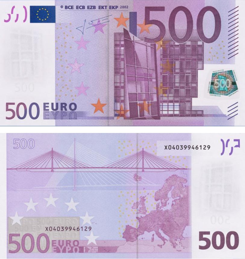 Cédula Antiga de 500 Euros (Primeira Série)