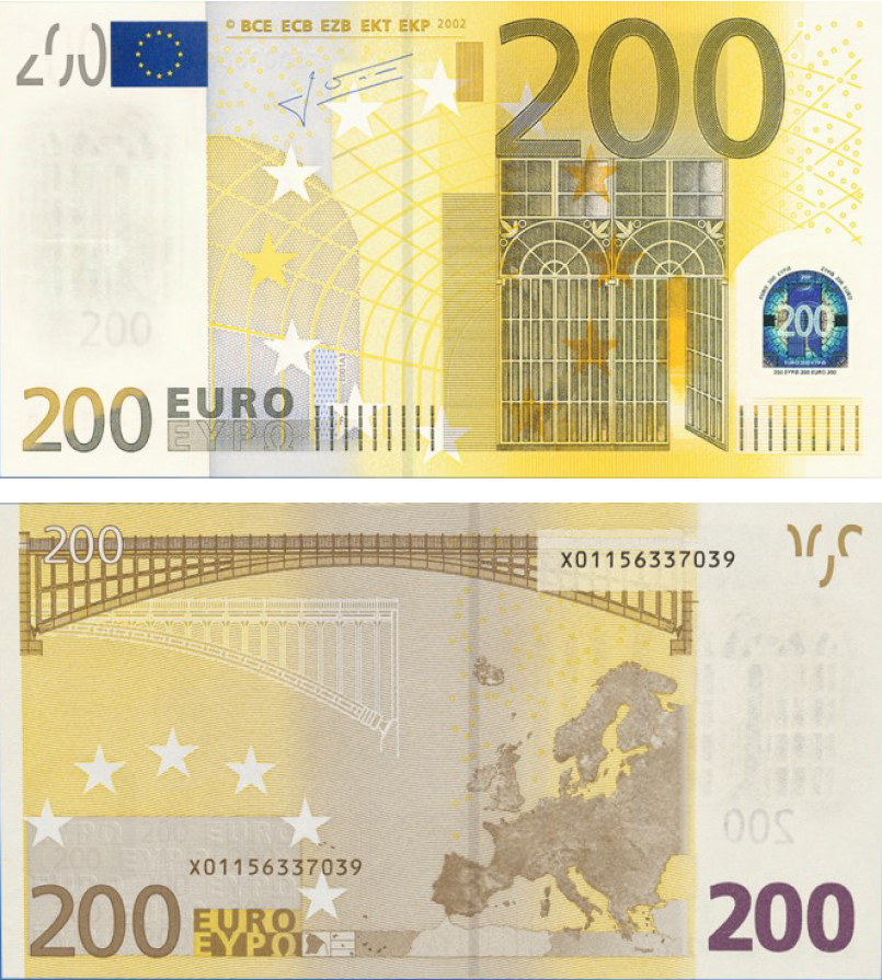 Cédula Antiga de 200 Euros (Primeira Série)