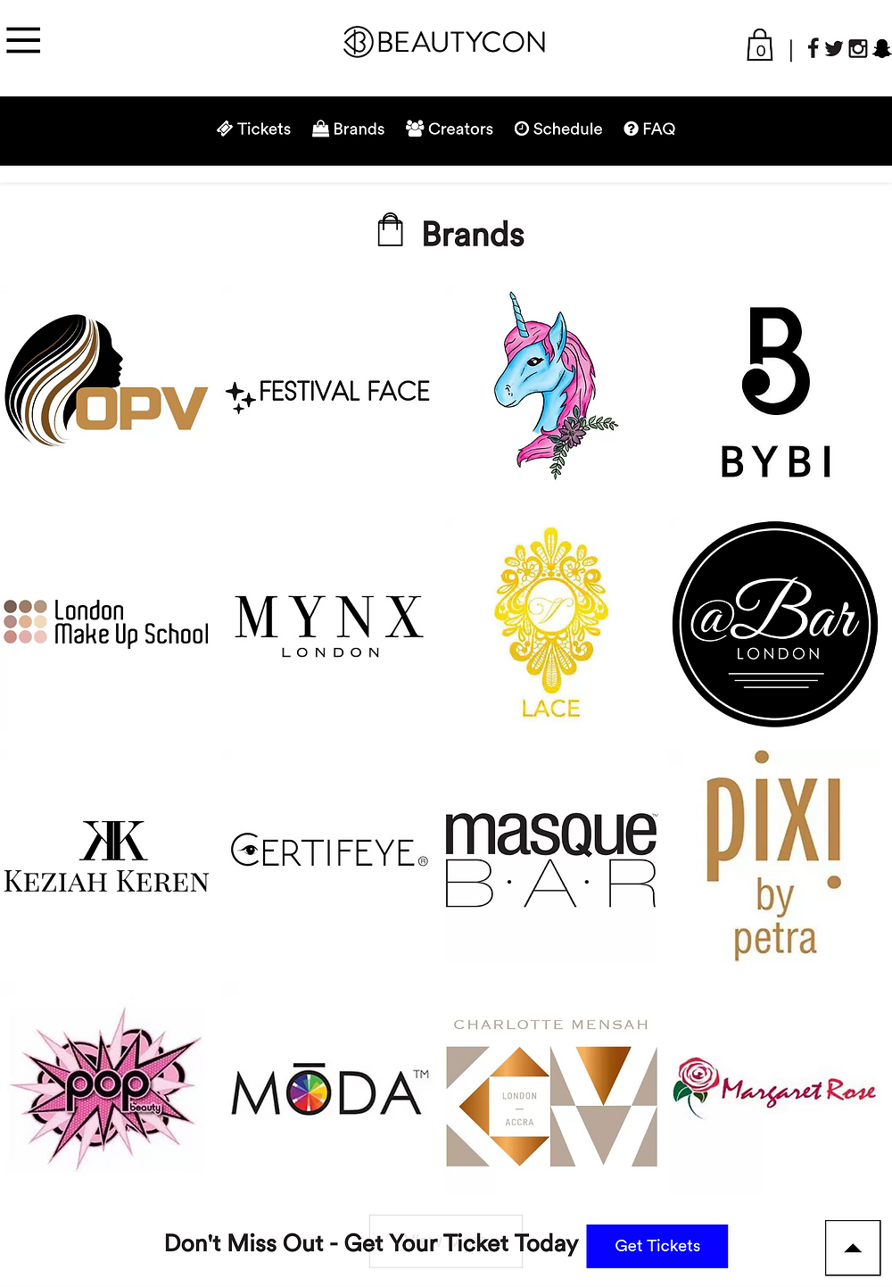 Brands at BeautyCon London inc @Bar London , MYNX London, VLace Cosmetics, Keziah Keren, Margaret Rose