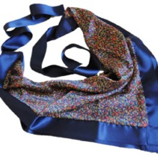 Ayamour Blue Pixel Silk Scarf