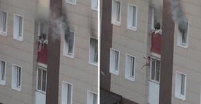 Мать выбросила детей из окна во время пожара