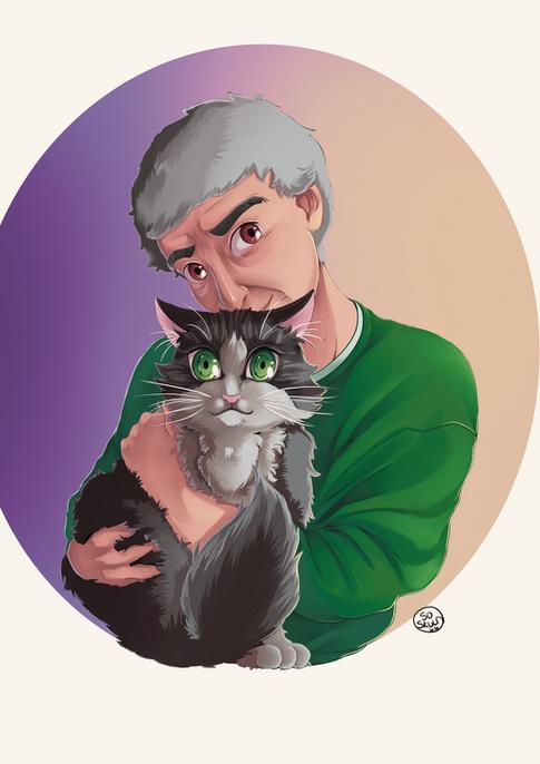 Portrait double avec chat
