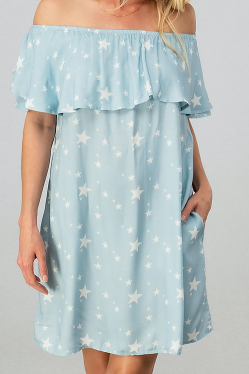 Ruffle Star Off the Shoulder Dress with Pockets