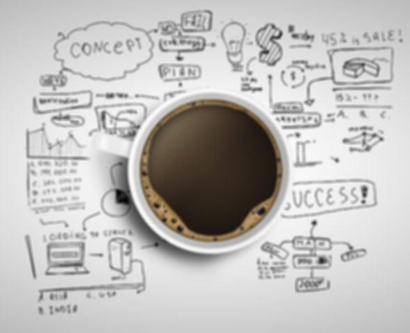 Cup of coffee on background of business