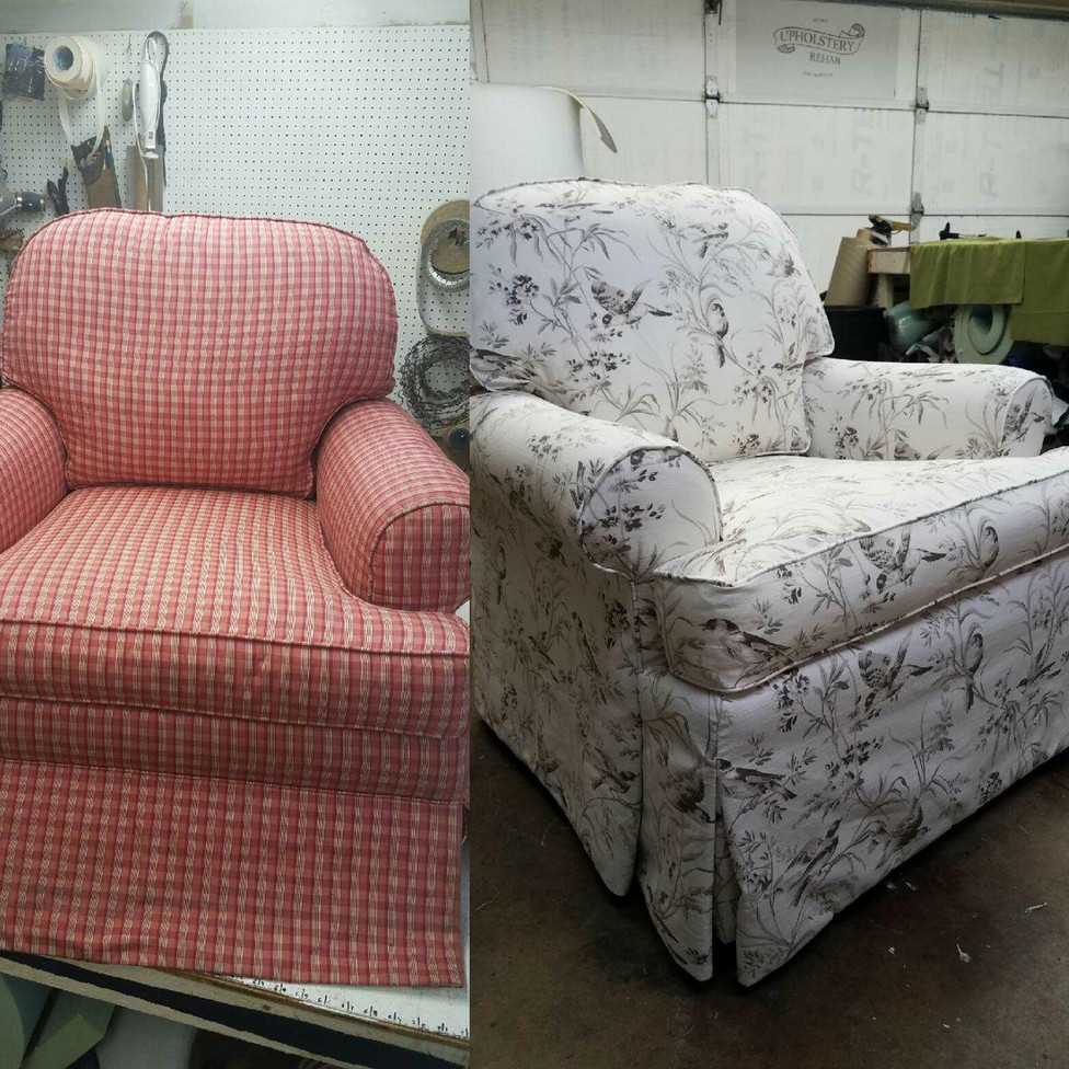 Waterfall skirt chair fort worth upholstery rehab