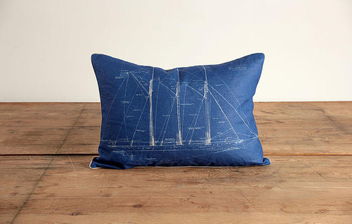 Nautical ship blueprint i linen pillow humble haute review our return policy nautical ship blueprint linen pillow malvernweather