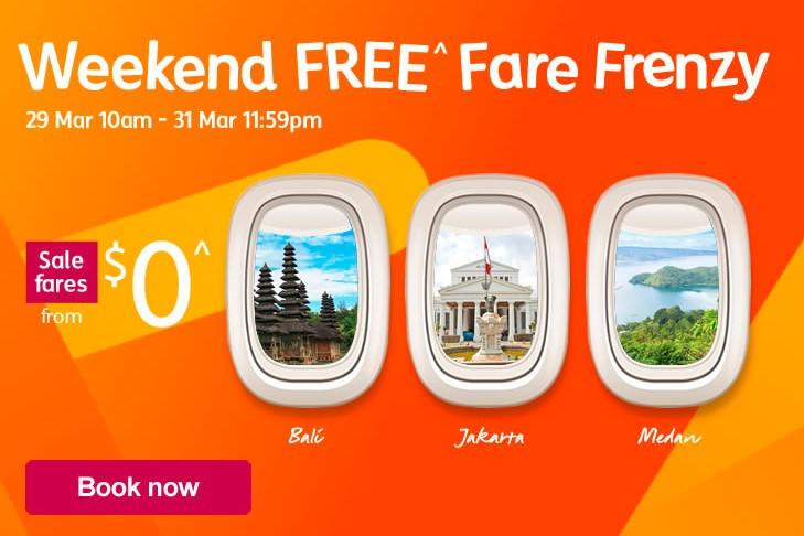 jetstar $0 weekend free fare frenzy