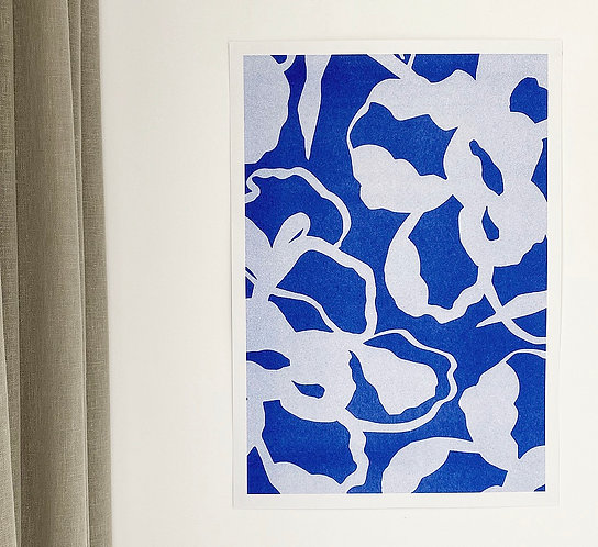 Flora Flora Duke - Blue Abstract Floral A3 Risograph Print ( recycled paper)