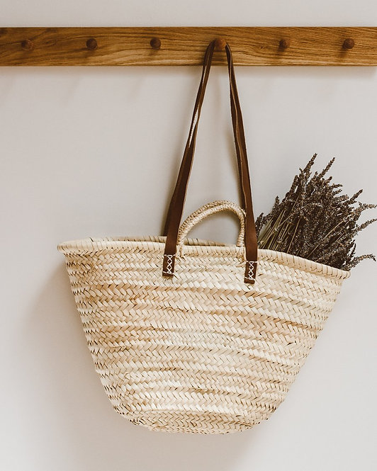 Goldrick - French Market Bag | Straw & Natural Leather