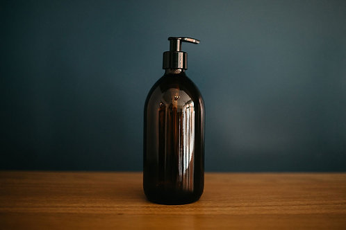 CLEAN NATURED - Amber Glass Bottle Soap Pump Dispenser