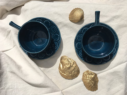 BCC - Vintage Blue Cups and Saucers (Set of 2)