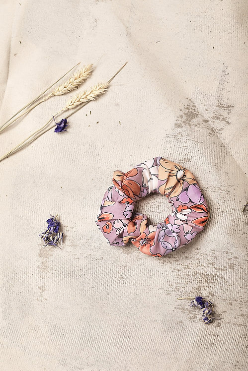 Jasmiin The Label - Lilac Floral Waste Fabric Scrunchie