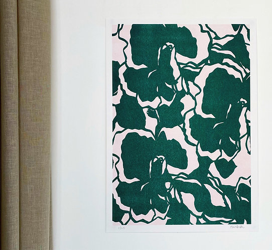 Flora Duke - Green Abstract Floral A3 Risograph Print ( recycled paper)