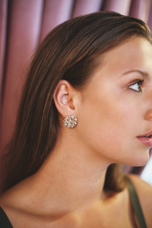 Tilly Sudsbury - Recycled Silver Round Ripple studs