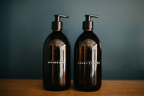 CLEAN NATURED - Amber Glass Bottle Shampoo and Conditioner Set