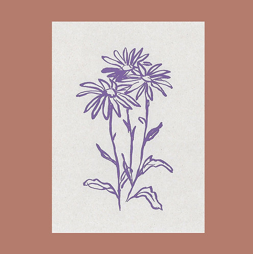 Lucy Augé - Letterpress Greeting Card - Moon Daisy