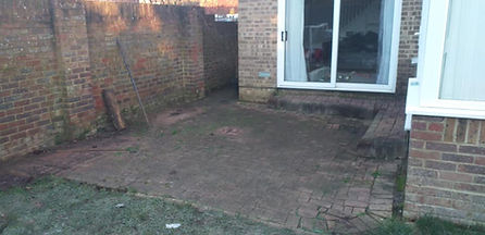 old block paving removed and kandla grey paving slabs, with dark contrasting edging blocks