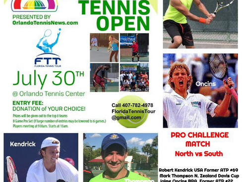 PLAY #OrlandoUnited Doubles Charity Open July 30! AND Top Orlando Pros Exhibition!