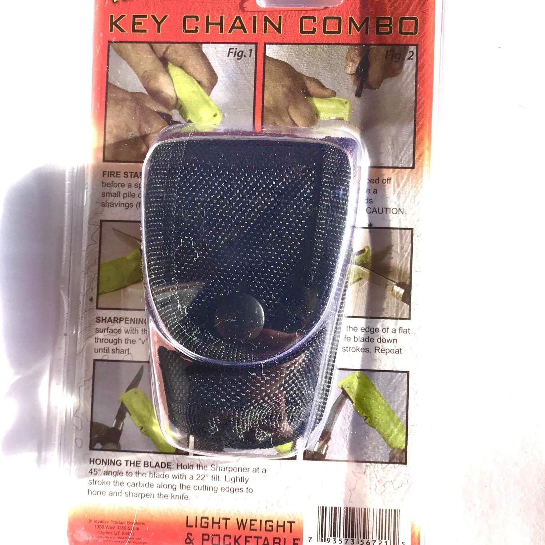 Thumbnail: Firestarter Knife and Keychain Knife Sharpener Compass Combo