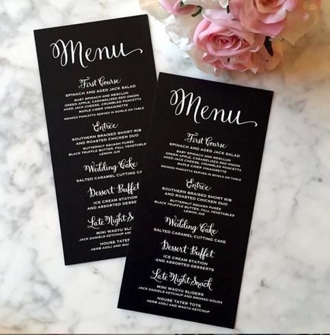 White ink on black paper menu