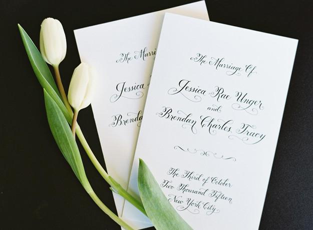 Wedding program using Wedding Calligraphy