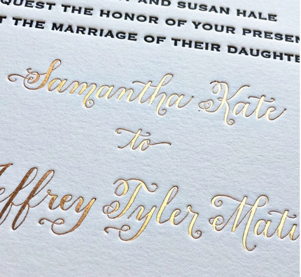 Calligraphy Invitation with Foil and letterpress