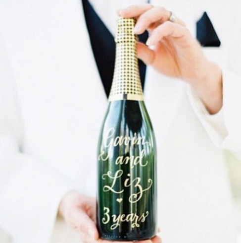 Champagne bottle calligraphy