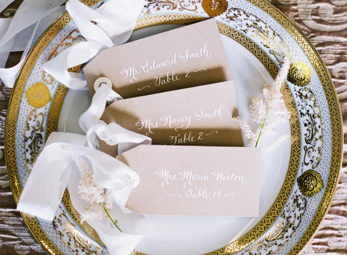 Calligraphy place card tags