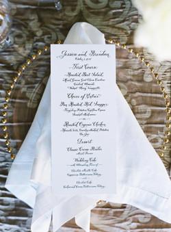 Wedding Menu with hand calligraphy