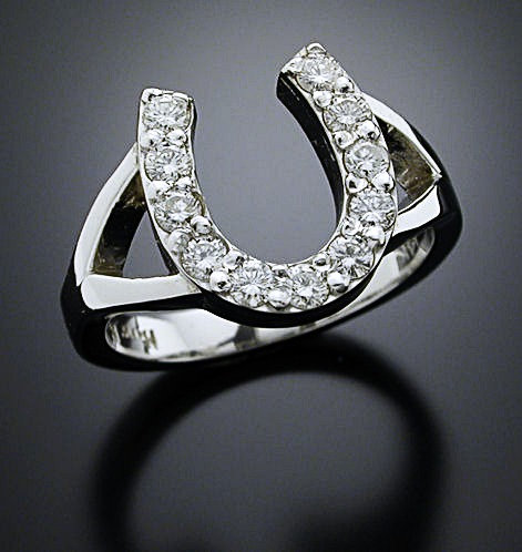 White Gold Diamond Horse Shoe Ring