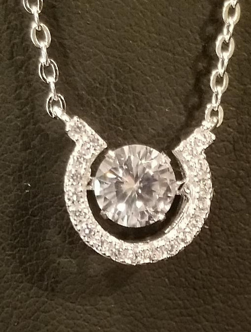 Sterling Silver Dancing Horse Shoe Necklace