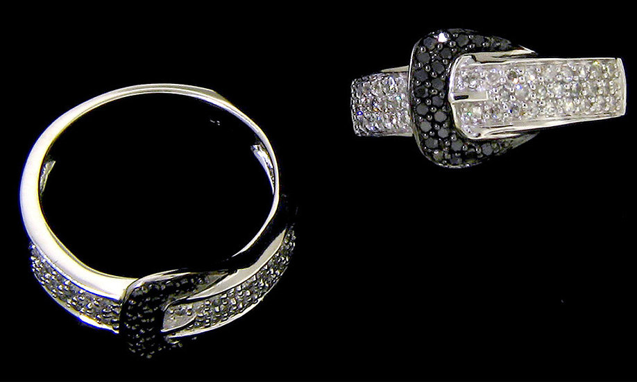 14kt White Gold  Buckle Ring Set With  Black & White Diamonds