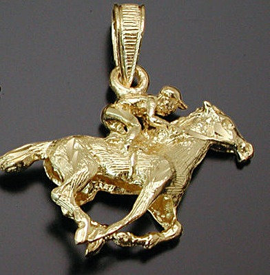 Gold 3D Thoroughbred Charm
