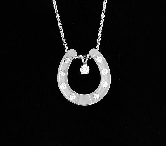 14kt White Gold diamond Horseshoe Pendant