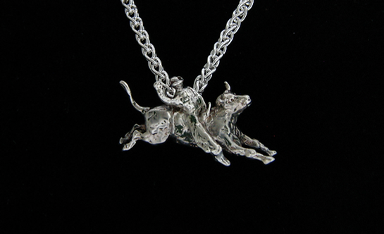 Sterling Silver Bull RiderPendant